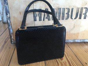 Handbag black-gold-colored leather