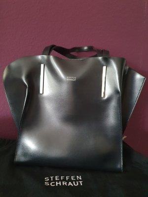 Handtasche schwarz silber