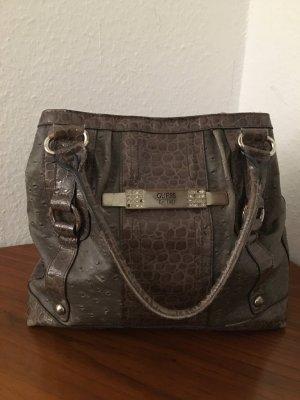 Handtasche / Shopper Grau Silber Kroko Lederoptik