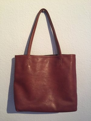 Handtasche Shopper Kunstleder braun cognac