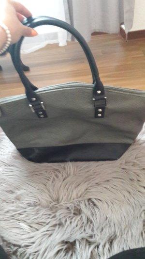 Handtasche Shopper Schultertasche kroko olive khaki schwarz Kunstleder