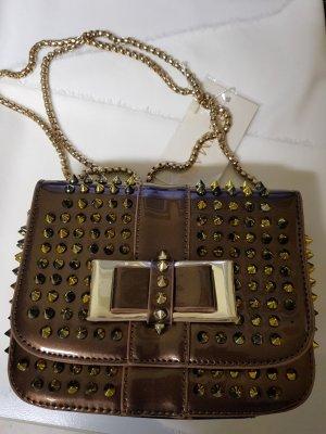 handtasche tasche mit nieten grüngold neu damen