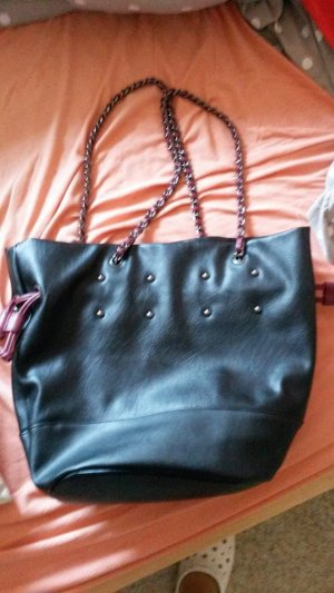 Handtasche Tasche Shoulder Bag Kettenhenkel schwarz bordeaux