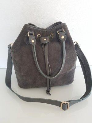 Handtasche/Umhängetasche, Beutelform, grau/gold, Wildleder,