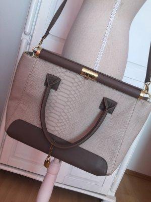 Handtasche Umhängetasche Schlange Vintage braun nude beige Gold