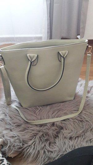 Handtasche Umhängetasche Schultertasche grau beige sand schwarz gold