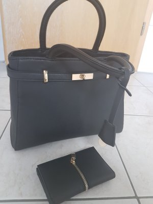 handtasche und Geldbörse schwarz gold
