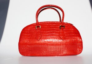 Vicari Carry Bag bright red-black leather