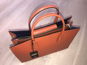Handbag dark orange-blue leather
