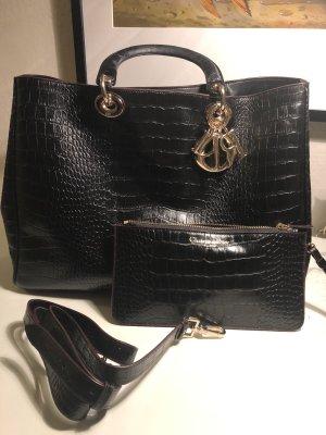 Handtasche von Dior in Schwarz croco Prägung - Medium Diorissimo