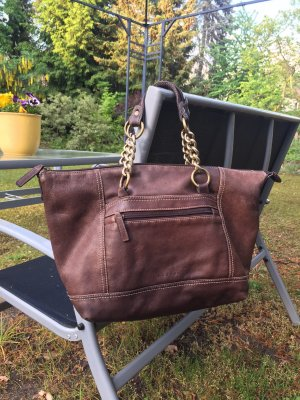 Handtasche von L.Credi dunkelbraun Leder