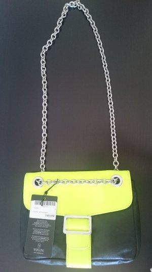 Handtasche von MADELEINE in Schwarz - Neongelb ongelb