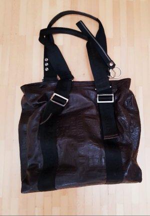 Handtasche von Nannini, aus dunkelbraunem Leder