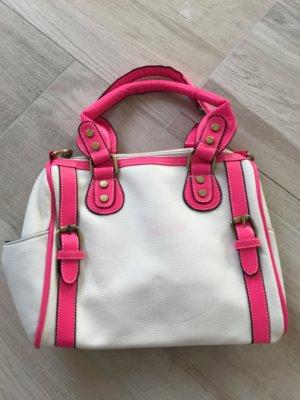 Handtasche weiß/pink neon mit Umhängeriemen