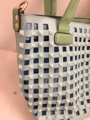 0039 Italy Sac porté épaule vert pâle-bleu clair