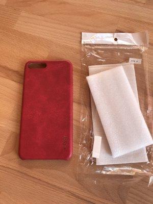 Étui pour téléphone portable rouge foncé-rouge cuir