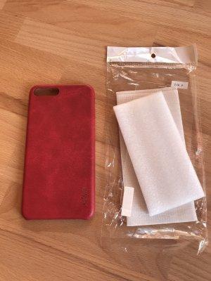 Hoesje voor mobiele telefoons rood Leer