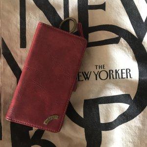 Handy IPhone 7s Ledertasche mit Portemonnaie rot