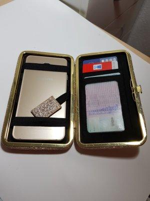 Tarjetero negro-color oro