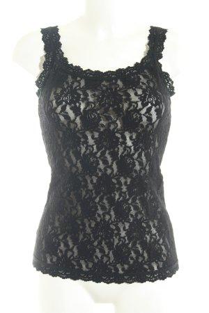 Hanky panky Top de encaje negro estampado floral estilo de lencería