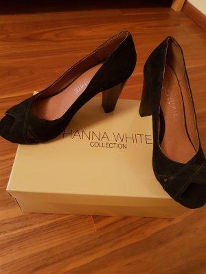 Hanna White Peeptoes Leder schwarz Gr. 38 neu
