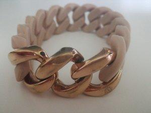 Bracelet rose-gold-coloured-beige stainless steel
