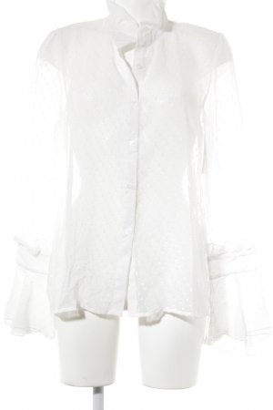 Haoduoyi Langarm-Bluse wollweiß Punktemuster Romantik-Look
