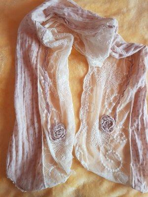 Haöstuch/Schal mit Spitzenstoff Beige