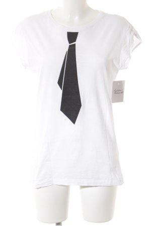 Happiness T-Shirt weiß-schwarz platzierter Druck Casual-Look