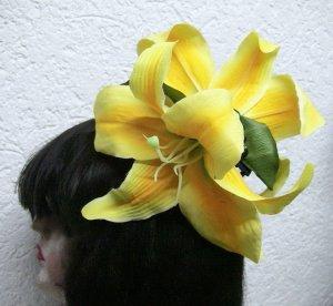 Harajuku Blumen Haarschmuck gross und auffallend gelb