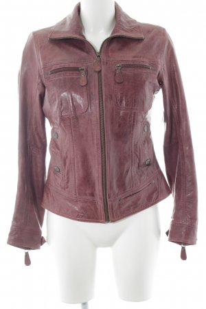 Hard Rock Cafe Lederjacke rostrot-lila Biker-Look