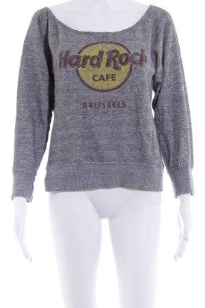 Hard Rock Cafe Strickpullover grau Schriftzug gedruckt Casual-Look