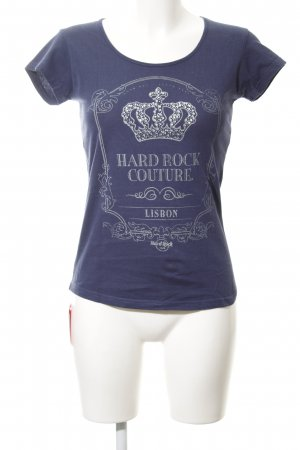 Hard Rock Cafe T-Shirt blau-silberfarben Motivdruck Casual-Look