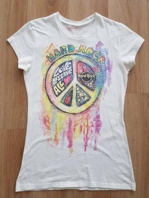 Hard Rock Cafe T-Shirt mit Strass weiß / bunt Gr. S