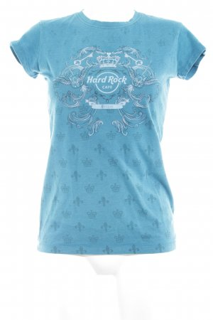 Hard Rock Cafe T-Shirt petrol Ornamentenmuster Casual-Look