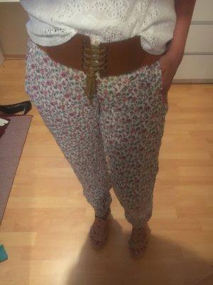 Pantalón estilo Harem blanco-color rosa dorado