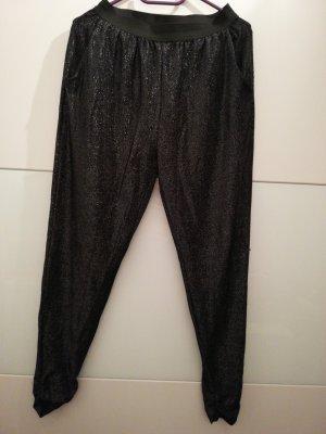 Pantalón estilo Harem negro-color plata