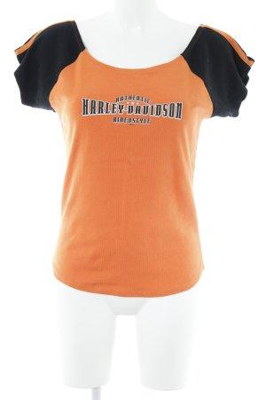 Harley Davidson T-Shirt orange-schwarz Schriftzug gedruckt Biker-Look