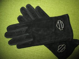 Harley Davidson Guanto in pelle nero-argento Scamosciato
