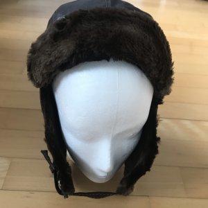Cappello in pelliccia marrone Pelle