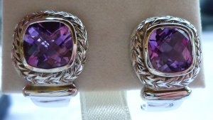 Silver Earrings silver-colored-dark violet real silver