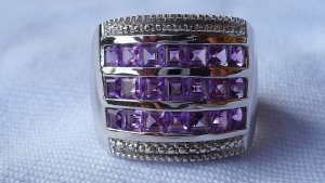 Silver Ring silver-colored-dark violet real silver