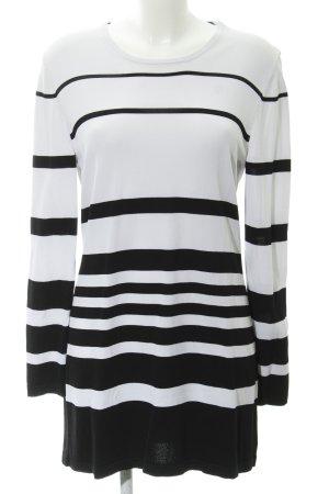 Hauber Longpullover weiß-schwarz Streifenmuster Casual-Look