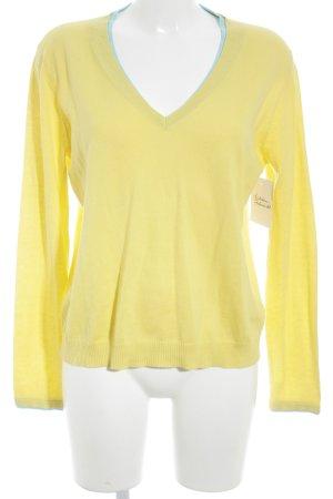 Hauber V-Ausschnitt-Pullover gelb-babyblau Casual-Look