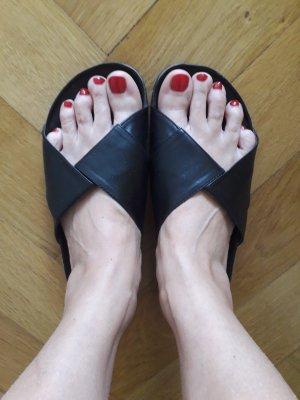 C&A Sandalias cómodas negro Imitación de cuero