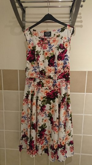 Hearts & Roses TopVintage exclusive ~ 50s Audrey Floral Swing Dress in Ivory