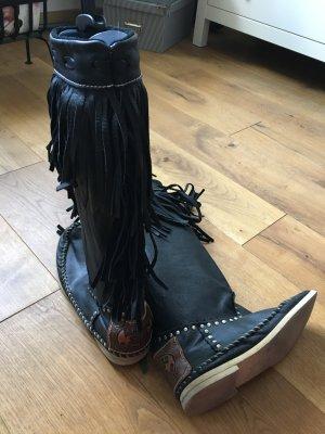 Hector Riccione schwarze Fransenstiefel aus Leder 39/40