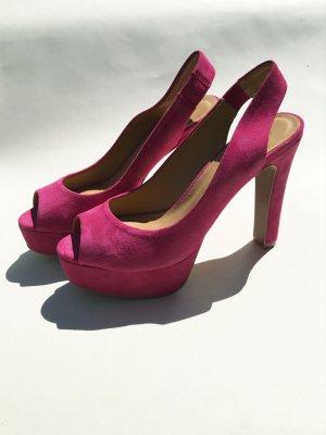 Zara Woman Plateauzool pumps roze Imitatie leer