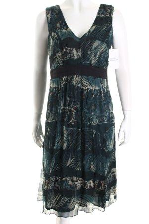 Heine A-Linien Kleid petrol-creme abstraktes Muster Casual-Look