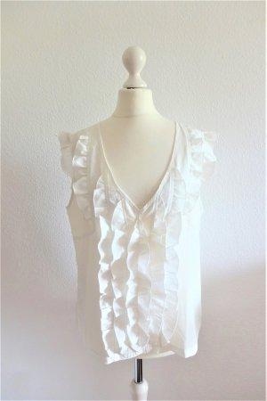heine Bluse Top Shirt ärmellos Rüschen weiß creme Gr. 42 L